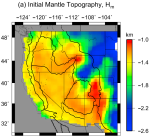 Mantle topography from Vs model of Shen et al, from Levandowski et al. 2014.