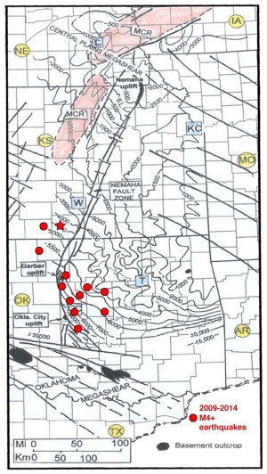 "Elevation of Precambrian basement, from McBee (2003), ""Nemaha Strike Slip Zone"" with M4 and higher earthquakes from past 5 years (some spots have multiple events). Latest even in Kansas shown with a star."