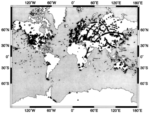 Locations of refraction profiles used in making CRUST5.1.  From Mooney et al., JGR 1998.