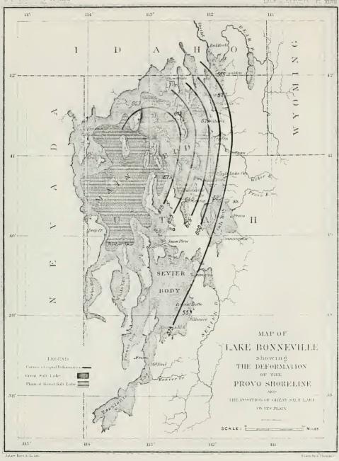 Provo shorelines of Lake Bonneville, from Gilbert, USGS PP 1, 1890.